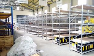 Warehouse shelf racks for storage of spare parts