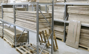 Shelving for warehouse at furniture manufacturing